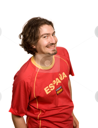 Supporter stock photo, Spanish young man supporter, isolated on white by Rui Vale de Sousa