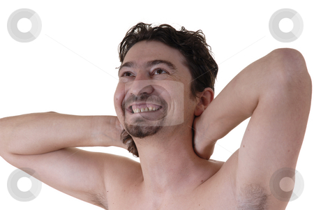 Skin stock photo, Young naked man standing with arms open by Rui Vale de Sousa