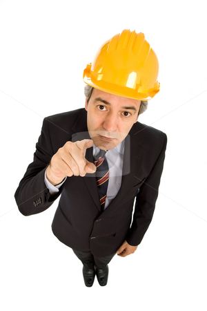 Pointing stock photo, An engineer with yellow hat, isolated on white by Rui Vale de Sousa