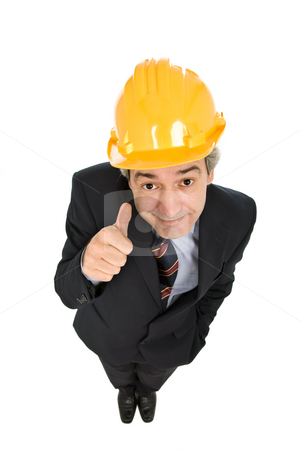 Thumb stock photo, An engineer with yellow hat, isolated on white by Rui Vale de Sousa