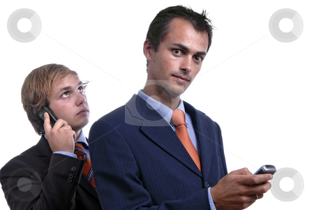 Phone stock photo, Two young men on the phone in white background by Rui Vale de Sousa