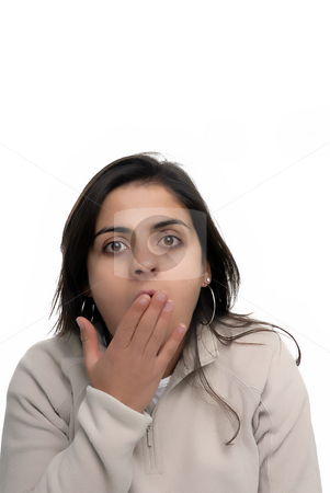 Surprise stock photo, Surprised young casual woman in a white background by Rui Vale de Sousa