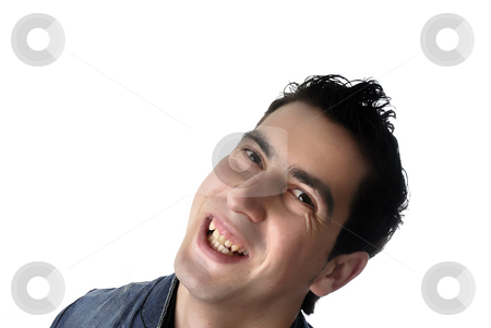 Silly stock photo, Young casual man portrait in a white background by Rui Vale de Sousa