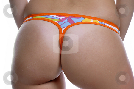 Panties stock photo, Woman back in colored panties, isolated on white by Rui Vale de Sousa