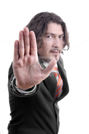 Stop stock photo, Business man making stop. Focus on the hand by Rui Vale de Sousa