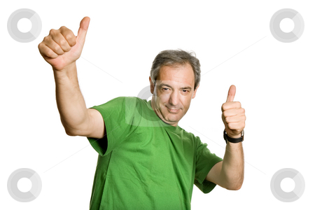 Thumbs stock photo, Mature man playing silly, isolated on white by Rui Vale de Sousa