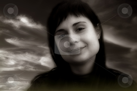 Girl stock photo, Girl close up portrait in toned mode by Rui Vale de Sousa