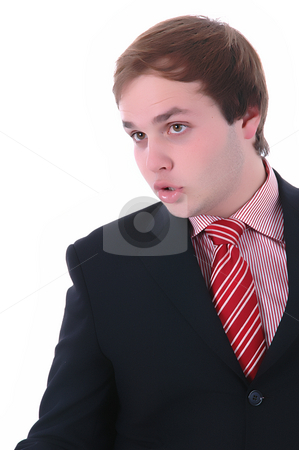 Portrait stock photo, Young businessman portrait. Isolated on white background by Rui Vale de Sousa