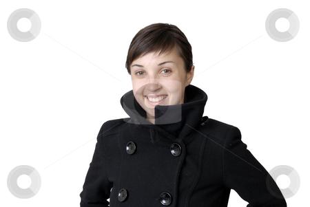 Girl stock photo, Girl smile white teeth over white background by Rui Vale de Sousa