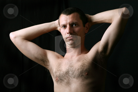 Nude stock photo, Young man model on a black background by Rui Vale de Sousa