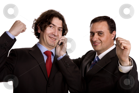 Happy stock photo, Two young business men portrait on white. by Rui Vale de Sousa