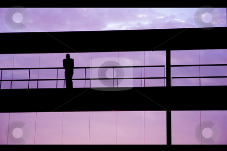 Alone stock photo, Worker inside the building silhouette at sunset by Rui Vale de Sousa