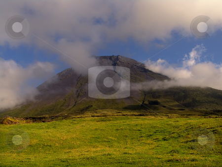 Fog stock photo, Mountain of Pico with some clouds by Rui Vale de Sousa