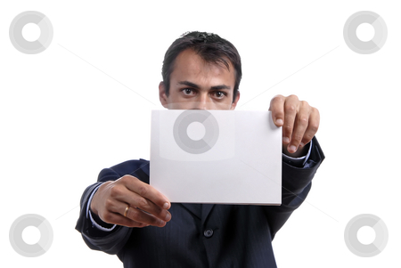 Card stock photo, Business man holding a card, focus on the card by Rui Vale de Sousa