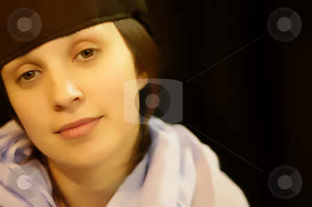 Girl stock photo, Young casual girl portrait in black background by Rui Vale de Sousa
