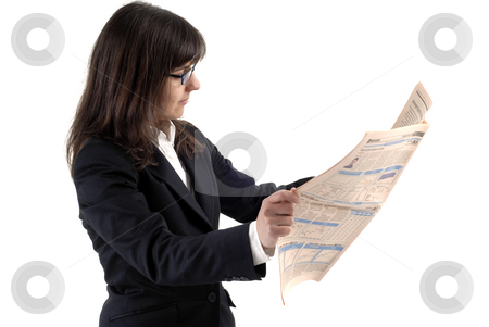News stock photo, Business woman reading the finance newspaper, isolated on white by Rui Vale de Sousa
