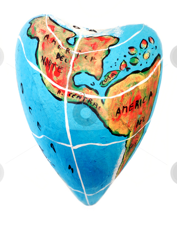 Globe stock photo, Closeup of a globe showing the america isolated. heart shaped by Rui Vale de Sousa
