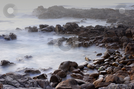 Rocks stock photo, Mist in the ocean, coast of north of spain by Rui Vale de Sousa