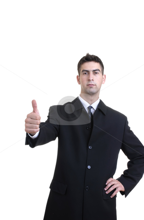 Thumbs up stock photo, Young business man with his hand going thumbs up by Rui Vale de Sousa