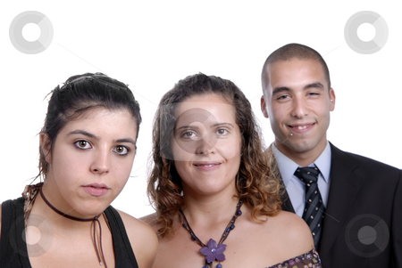 Colleagues stock photo, Two women and a man isolated on white by Rui Vale de Sousa