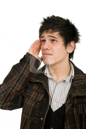 Headache stock photo, Young casual man with a headache, isolated on white by Rui Vale de Sousa