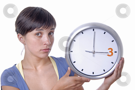 Clock stock photo, Caucasian young woman holding a big clock by Rui Vale de Sousa