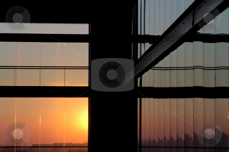 Architecture stock photo, Modern building interior lines at sunset light by Rui Vale de Sousa