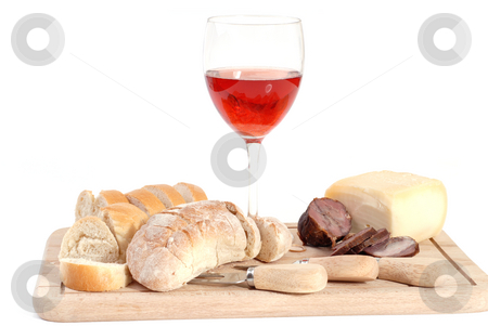 Food stock photo, A set of food with red wine isolated on white by Rui Vale de Sousa