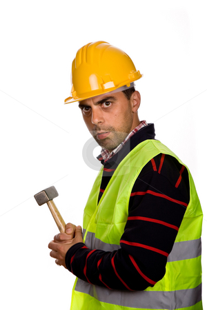 Foreman stock photo, Young casual worker portrait with a hammer by Rui Vale de Sousa