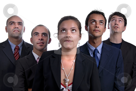 Team stock photo, Business team, isolated on white background, focus on the woman by Rui Vale de Sousa