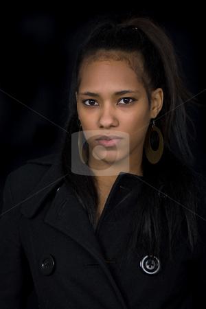 Portrait stock photo, Young beautiful woman close up portrait, on black background by Rui Vale de Sousa