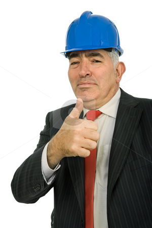 Thumb stock photo, An engineer with blue hat, isolated on white by Rui Vale de Sousa