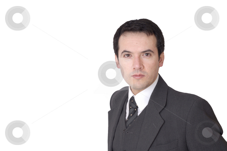 Stand stock photo, Young business man portrait in white background by Rui Vale de Sousa