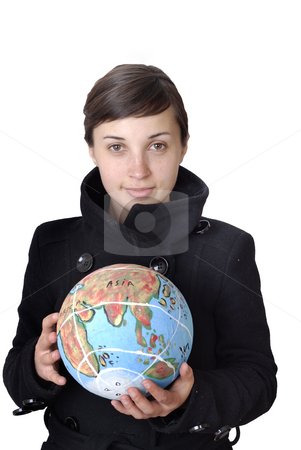 World stock photo, Pretty young woman holding the world in her hand by Rui Vale de Sousa