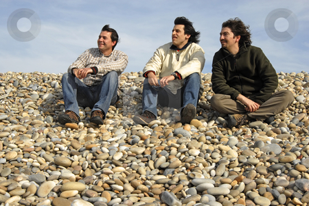 Young stock photo, Three casual young men at the beach by Rui Vale de Sousa