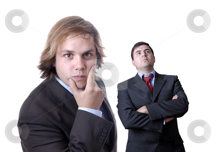 Business men stock photo, Two young business men portrait on white. focus on the man of the right by Rui Vale de Sousa