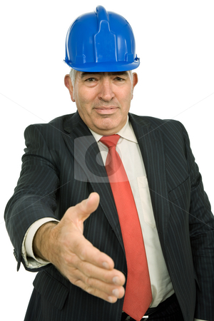 Handshake stock photo, Mature man in suit offering to shake the hand by Rui Vale de Sousa