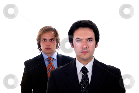 Business stock photo, Two young business men portrait on white. focus on the man of the right by Rui Vale de Sousa