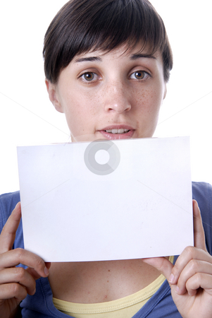 Card stock photo, Young girl holding a card, close up by Rui Vale de Sousa