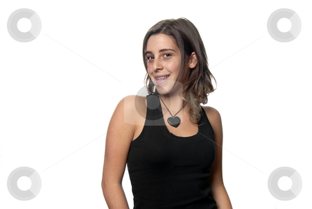 Teen stock photo, Young attractive woman smiling, over white background by Rui Vale de Sousa