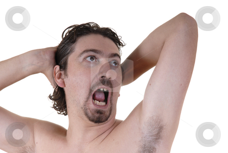Crazy stock photo, Crazy young naked white man portrait with arms in the head by Rui Vale de Sousa