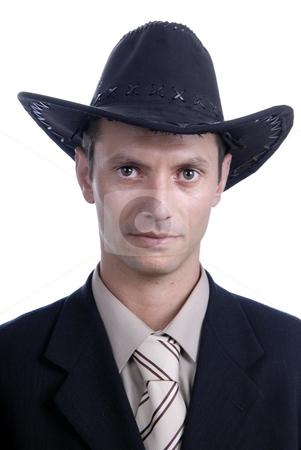 Cowboy stock photo, Young business men with cowboy hat portrait by Rui Vale de Sousa