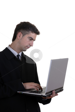 Computer stock photo, Man working with computer in a white background by Rui Vale de Sousa