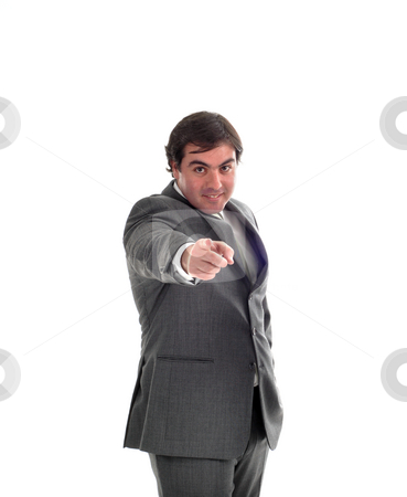 Pointing stock photo, Young business man portrait in white background by Rui Vale de Sousa