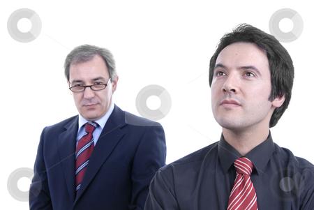 Businessmen stock photo, Two business men portrait on white. focus on the right man by Rui Vale de Sousa