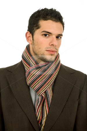 Close stock photo, Young man portrait, dressed for winter, in white by Rui Vale de Sousa