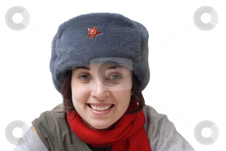 Girl stock photo, Young casual girl with a russian hat by Rui Vale de Sousa