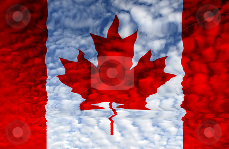 Canada stock photo, Canada red and white flag illustration, computer generated by Rui Vale de Sousa
