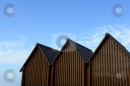 Beach Changing rooms stock photo, Architecture details, strange small houses in the north of spain by Rui Vale de Sousa