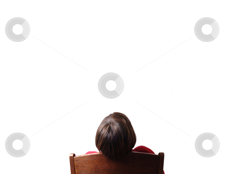 Seat stock photo, Woman seated looking for the white background by Rui Vale de Sousa